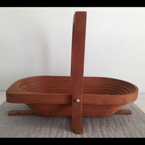Wood Collapsible Basket Signed